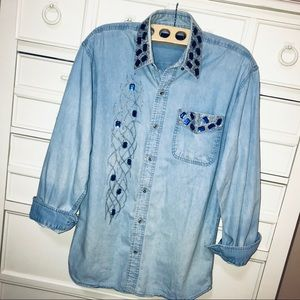 "Tops - Vintage 1980s Denim Top ""Ugly""/Costume/80 Workout"